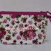 กระเป๋าเครื่องสำอางค์ นารายา ผ้าคอตตอน พื้นสีขาว ลายดอกกุหลาบ สีชมพู มีสายคล้องแขน (กระเป๋านารายา กระเป๋าผ้า NaRaYa)
