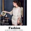 Luxury style Korea New arrival 2014 Feminine luxury see-through Lace Dress เดรสลูกไม้ แฟชั่นสไตล์เกาหลี ทอลายลูกไม้ซีทรู ฉลุลายผ้าแก้ว ตัดแต่งช่วงอกและแขน ซ้อนกันกับชุดเดรส งานจึงเด่นมีมิติ เข้ากันอย่างดีกับชุดเดรส pattern/cutting ออกแบบมาสวยงาม ใส่สวย ดี