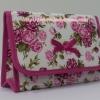 กระเป๋าเครื่องสำอางค์ นารายา ผ้าคอตตอน พื้นสีขาว ลายดอกกุหลาบ สีชมพู มีกระจกในตัว Size L (กระเป๋านารายา กระเป๋าผ้า NaRaYa)