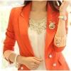 Pre-order เสื้อสูทแฟชั่น สีส้ม แต่งสาบแขนด้วยผ้าลายทาง