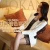Pre order เสื้อสูทแฟชั่นเกาหลี ปกสูท แขนยาว แต่งด้วยผ้าต่างสีที่ปกและกระเป๋า สีขาว