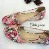 รองเท้าคัทชู Style vintage ตัดต่อผ้าลายดอก + อะคลิบิค ใสกุ๊นขอบ ส้นแบน ใส่ชิวๆ น่ารักไม่เบาเลยจ้า