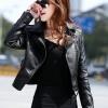 พร้อมส่ง เสื้อแจ็คเก็ตหนัง เสื้อแจ็คเก็ตผู้หญิง เข้ารูปพอดีตัว สีดำ แต่งซิปเก๋ มีปก แฟชั่นเกาหลี