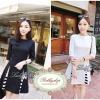 Lady Ribbon's Made Lady Abigail, Black&White Gorgeous Triangle StripeTtrim Mini Dress, Korea มินิเดรสเกาหลีแขนศอกสีขาว-ดำ เก๋ๆด้วยดีเทลกระโปรงทรง A เล่นชายผ่าทรง Triangle ผสมผสานด้วยดีเทลตัดต่อผ้าลายขวางอย่างลงตัว ลุคผู้ดี เรียบหรู ด้วยโทนสี ขาว-ดำ c