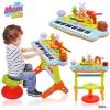 เปียโนเด็ก เปียโนตัวเเรก Funny Playing and Learning Electronic Keyboard จาก Huile ของเเท้ ค่ะ คุณภาพดี เสียงดี สามารถหัดเล่นได้จริง ตุ๊กตาเต้นได้ มีโหมดสอนเล่นด้วยเเสง ตามคีย์ สำหรับ 36 เดือน +