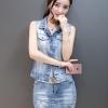 Pre-Order ขุดเสื้อแจ็คเก็ตยีนส์คอปกแขนกุด กระโปรงยีนส์สั้น ยีนส์ฟอกสีประดับเพชร แฟชั่นเกาหลี