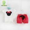 (พร้อมส่ง Size 90) เสื้อผ้าเด็ก เสื้อ+กางเกงลายจุดสีแดง