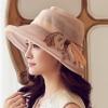 Pre-order หมวกผ้าไหมติดโบว์แฟชั่นฤดูร้อน กันแดด กันแสงยูวี สวยหวาน สีกาแฟอ่อน