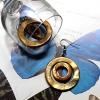 ต่างหู เปลือกหอยมุกย้อมสีทอง วงแหวนซ้อน (Mother Of Pearl)