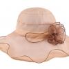 Pre-order หมวกผ้าไหมติดโบว์ดอกไม้แฟชั่นฤดูร้อน กันแดด กันแสงยูวี สวยหวาน สีคาเมล