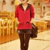เสื้อกันหนาวแฟชั่นเกาหลี : เสื้อกันหนาว พร้อมส่ง สีแดง ซิบหน้า แต่งลายแมวน่ารัก มีฮูทดีเทลลายแฟชั่น ไม่มีซับใน จั๊มปลายแขนและชายเสื้อ