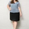 New collection : แบบนี้เก็บทรงสวยมากจ้า ตัวเสื้อเป็นผ้าชีฟอง ตัดต่อกระโปรงผ้าโรเชส (XL,2XL,3XL,4XL,5XL) (สีฟ้า)