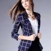 (Pre-order) ZK เสื้อสูทแฟชั่นแขนสามผ้าฝ้ายผสม ลายสก๊อตพื้นสีฟ้า ลายแดงขาว