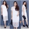 New !!! Maxi Dress ลูกไม้แขนสั้นงานถักลายตาราง ทรงสวย มีซับใน งานผ้านิ่มอย่างดี เนื้อผ้าถักลายแน่นๆ น่ารักมากๆๆ สี : ขาว ดำ