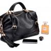 (Pre-order) กระเป๋าหนังแท้ กระเป๋าสะพายผู้หญิง หนังแท้ปั้มลายหนังงู แบบคลาสสิค สไตล์ยุโรป อเมริกา สีดำ