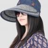Pre-order หมวกแฟชั่น หมวกแก็ปปีกกว้าง หมวกฤดูร้อน กันแดด ผูกโบว์ลายจุด สีบลูยีนส์