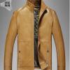 Pre-Order เสื้อแจ็คเก็ตหนังแท้ ผิวกำมะหยี่ สีน้ำตาลเหลือง