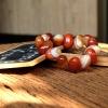++ Agate - อาเกต สีส้มลายธรรมชาติ ทรงลูกรักบี้ เม็ดหนา ++