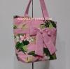 กระเป๋าสะพาย นารายา Summer ผ้าคอตตอน สีชมพู ลายดอกไม้ ผูกโบว์ (กระเป๋านารายา กระเป๋าผ้า NaRaYa กระเป๋าแฟชั่น)