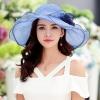 Pre-order หมวกผ้าไหมแท้ติดโบว์ดอกไม้แฟชั่นฤดูร้อน กันแดด กันแสงยูวี สวยหวาน สีฟ้า