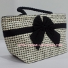 กระเป๋าถือ นารายา Size M ผ้าคอตตอน ลายชิโนริ ผูกโบว์ สีดำ สายหิ้ว หูเกลียว (กระเป๋านารายา กระเป๋าผ้า NaRaYa กระเป๋าแฟชั่น)