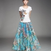 (Pre-order) กระโปรงผ้าชีฟองพิมพ์ลายดอกไม้ สีฟ้า กระโปรงทำงาน กระโปรงลำลอง กระโปรงยาว เดรสออกงาน