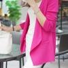 เสื้อสูทแฟชั่น : เสื้อคลุมแฟชั่น พร้อมส่ง สีชมพูบานเย็น แขนยาว แต่งด้วยปกโฉบเฉี่ยวยอดนิยม! ดีเทลชายเสื้อจับจีบด้านหลังน่ารัก มีกระเป๋า 2 ข้างใช้งานได้ เนื้อผ้ามีความยืดหยุ่นนิดหน่อยค่ะ ใส่เป็นเสื้อคลุมกันแดด กันหนาว หรือ ใส่ในห้องแอร์ค่ะ