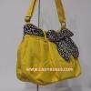กระเป๋าสะพาย นารายา ผ้าคอตตอน นาโน สีเหลือง ผูกโบว์ ลายเสือดาว ด้านข้าง (กระเป๋านารายา กระเป๋าผ้า NaRaYa กระเป๋าแฟชั่น)