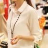 พร้อมส่ง เสื้อเชิ้ต แขนยาว สีขาว ผ้าชีฟอง เสื้อผ้าแฟชั่นเกาหลี 2013