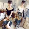Sevy Two Pieces Of Wide V-Neck T-Shirt With Vintage Chiffon Skirt Sets Type: T-Shirt+Skirt(Sets) Fabric: เนื้อผ้าเสื้อ cotton กระโปรงชีฟอง Detail: Set เสื้อ+กระโปรง ดีเทลเสื้อยืดคอปาดกว้าง ทรงครอป มาพร้อมกระโปรงยาวลายเส้นและดอกไม้สีสันสวยงาม ดีเทลผ่าข้าง