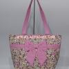 กระเป๋าสะพาย นารายา ผ้าคอตตอน ลายหยดน้ำ สีชมพู ผูกโบว์ด้านหน้า มีซิปด้านหลัง (กระเป๋านารายา กระเป๋าผ้า NaRaYa กระเป๋าแฟชั่น)