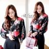 Korea Shirts crop rose pin by Aris Code เสื้อครอปพิมลายกุหลาบ ดูมีคลาส มีรสนิยม ดีไซด์เก๋เป็นทรงแขนค้างคาว หน้าหลังติดกระดุมเปิดออกได้ทั้งตัว แมตกับกระโปรงหรือกางเกง ก้ดูดีค่ะ ใช้ผ้าป่าน+ Cotton ผ้าดี ใส่สบาย ป้าย Aris Code ค่ะ
