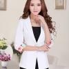 Pre-Order เสื้อสูททำงาน เสื้อสูทผู้หญิง สูทลำลอง สีขาว แขนสามส่วนแต่งปลายแขนด้วยผ้าพิมพ์ลาย แฟชั่นชุดทำงานสไตล์เกาหลีปี 2014