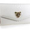 (Pre-orderX) กระเป๋าคลัทช์ แฟชั่นกระเป๋าถือผู้หญิง แฟชั่นมาใหม่สไตล์ยุโรป-อเมริกา ปี 2013 หนังแท้ประดับด้วยหัวเสือชีต้าห์ หนังแข็งปั้มลายหนังจระเข้ สีขาว