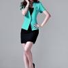 Pre-order เสื้อสูทผู้หญิง เข้ารูป ไม่มีปก แขนสั้น สีฟ้าเขียว
