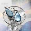 ต่างหู เปลือกหอยมุก รูปวงรี สีฟ้าเข้ม (Mother of Pearl)