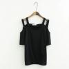 เสื้อเปิดไหล่แขนสั้นผ้าคอตตอนสีดำ (XL,2XL,3XL) เพิ่มเติม ** เนื้อผ้า : Cotton เสื้อผ้าสาวอวบแขนสั้น ดีเทลเปิดไหล่แต่งสายคู่ เนื้อผ้านุ่มใส่สบาย ผ้ามีน้ำหนักทิ้งตัว ใส่แล้วทรงสวยเหมือนนางแบบเลยจ้า **
