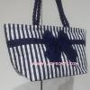 กระเป๋าสะพาย นารายา Size L ผ้าคอตตอน ลายทาง น้ำเงิน-ขาว ผูกโบว์ สายหิ้ว หูเกลียว (กระเป๋านารายา กระเป๋าผ้า NaRaYa กระเป๋าแฟชั่น)