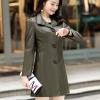 (Pre-order) เสื้อแจ็คเก็ตหนังแท้ เสื้อโค๊ตยาว หนังแกะ แฟชั่นเกาหลี สีเขียวทหาร