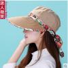 Pre-order หมวกแฟชั่น หมวกแก็ปปีกกว้าง หมวกฤดูร้อน กันแดด กันแสงยูวี สีกาแฟแต่งด้วยผ้าพิมพ์ลายดอกไม้