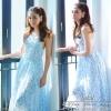 สินค้าพร้อมส่ง 한국에 의해 설계된 2Sister Made, Blue Pretty Dress Style Sweet Beauty Summer แม็กซี่เดรสลุคสาวหวาน งานสไตล์แบรนด์ดังค่ะ เนื้อผ้าchiffonหนาเนื้อนิ่ม มีซับในอย่างดีค่ะ ดีเทลแขนกุด เว้าหลัง กระโปรงระบายบานสวยเว่อร์ๆ เนื้อผ้ามีน้ำหนักใส่เป็นทรงสวย งานป
