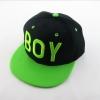 หมวก HIPHOP สีดำปีกหมวกสีเขียวปัก BOY สีเขียว