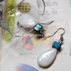++ ต่างหู เปลือกหอยมุก คั่นด้วยเปลือกหอยมุกย้อมสีฟ้า (Mother of Pearl) ++