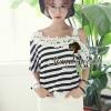 Cool Stripy Top Shoulder Oblique Lace by Seoul Secret Material : เสื้อยืด เนื้อผ้าคอตตอน ทอลายขาวดำ เนื้อผ้านุ่ม ลื่น สวย ใส่สบายมากคะ ชิคๆ ด้วยงานทอลายขาวดำ เสื้อตัวนี้ทรงเก๋สวยน่าใส่มากคะ เว้าไหล่หนึ่งข้าง เติมความสวยด้วยงานเย็บติดด้วยผ้าลูกไม้ลายดอกไม้