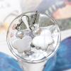 ++ ต่างหู เปลือกหอยมุก คั่นด้วยมุกน้ำจืด สีขาวครีมธรรมชาติ ทรงรูปผีเสื้อ (Fresh Water Pearl, Mother of Pearl) ++