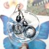 ++ ต่างหู เปลือกหอยมุก คั่นด้วยมุกน้ำจืด ย้อมสีเทาเข้ม (Fresh Water Pearl, Mother of Pearl) ++