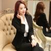 พรีออเดอร์ ชุดสูทกางเกงผู้หญิง สีดำ (เสื้อสูทแขนยาว+กางเกง) ผ้าผสม แฟชั่นเกาหลี