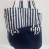 กระเป๋าสะพาย นารายา สำหรับคุณแม่ลูกอ่อน ผ้าคอตตอน ลายทาง น้ำเงิน-ขาว (กระเป๋านารายา กระเป๋าผ้า NaRaYa กระเป๋าแฟชั่น)