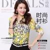 Pre-order เสื้อเชิ้ตชีฟองซีทรู แขนยาว เสื้อทำงาน พิมพ์ลายดอกไม้สีเหลือง แฟชั่นสไตล์เกาหลี