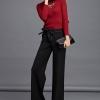 Pre-Order กางเกงผู้หญิงทำงาน เอวสูง ขาบาน ผ้าฝ้ายผสม แฟชั่นเกาหลีกางเกงขายาว